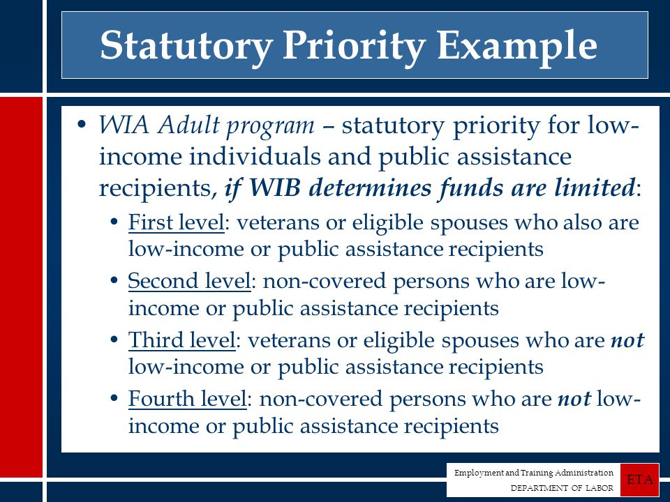 Employment and Training Administration DEPARTMENT OF LABOR ETA Statutory Priority Example WIA Adult program – statutory priority for low- income individuals and public assistance recipients, if WIB determines funds are limited : First level: veterans or eligible spouses who also are low-income or public assistance recipients Second level: non-covered persons who are low- income or public assistance recipients Third level: veterans or eligible spouses who are not low-income or public assistance recipients Fourth level: non-covered persons who are not low- income or public assistance recipients
