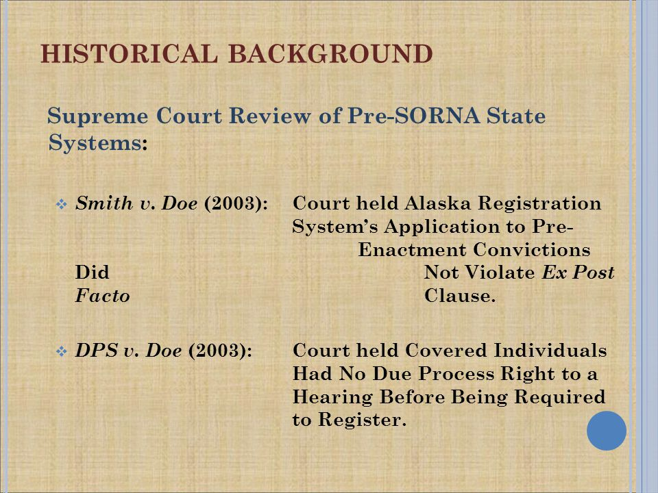 HISTORICAL BACKGROUND Supreme Court Review of Pre-SORNA State Systems:  Smith v.