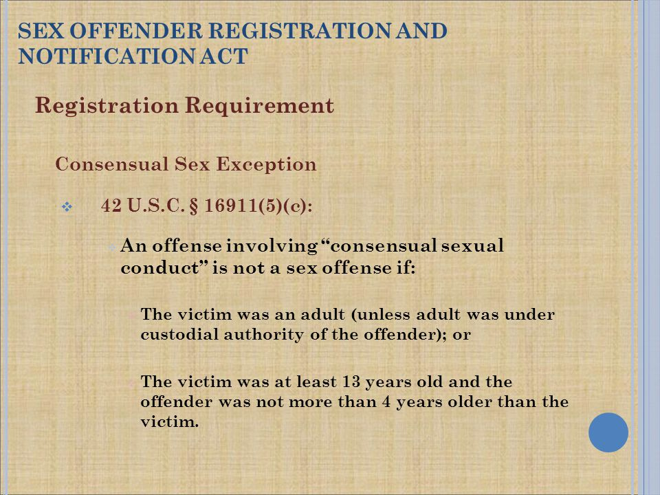 Registration Requirement Consensual Sex Exception  42 U.S.C.