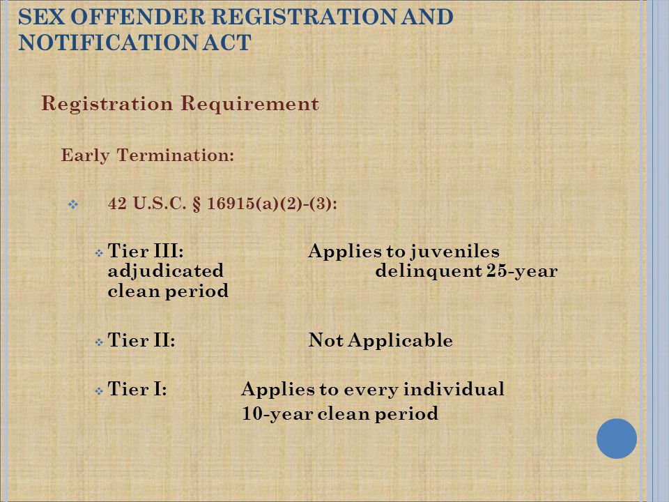 Registration Requirement Early Termination:  42 U.S.C. § 16915(a)(2)-(3):  Tier III: Applies to juveniles adjudicated delinquent 25-year clean perio