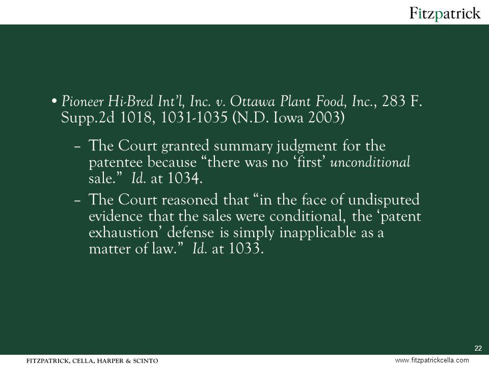 22 www.fitzpatrickcella.com Pioneer Hi-Bred Int'l, Inc.