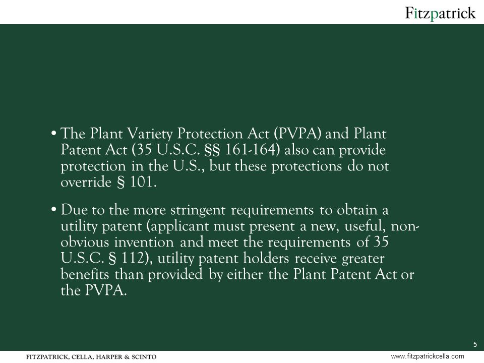 5 www.fitzpatrickcella.com The Plant Variety Protection Act (PVPA) and Plant Patent Act (35 U.S.C.