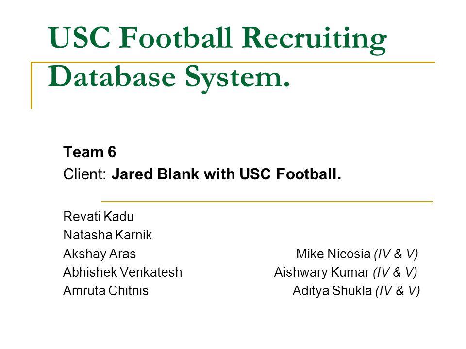 USC Football Recruiting Database System. Team 6 Client: Jared Blank with USC Football. Revati Kadu Natasha Karnik Akshay ArasMike Nicosia (IV & V) Abh
