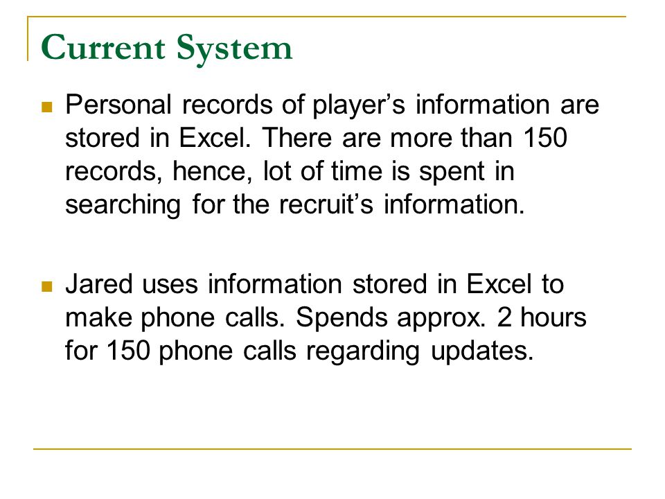 Current System Personal records of player's information are stored in Excel. There are more than 150 records, hence, lot of time is spent in searching
