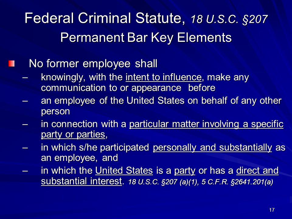 Federal Criminal Statute, 18 U.S.C.