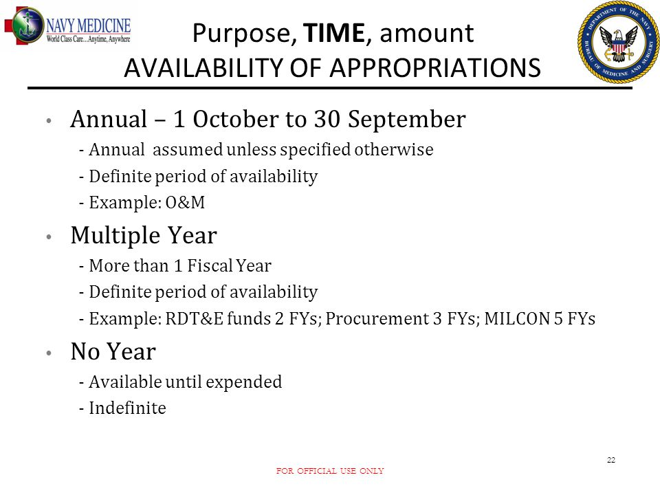 FOR OFFICIAL USE ONLY 22 Purpose, TIME, amount AVAILABILITY OF APPROPRIATIONS Annual – 1 October to 30 September - Annual assumed unless specified oth