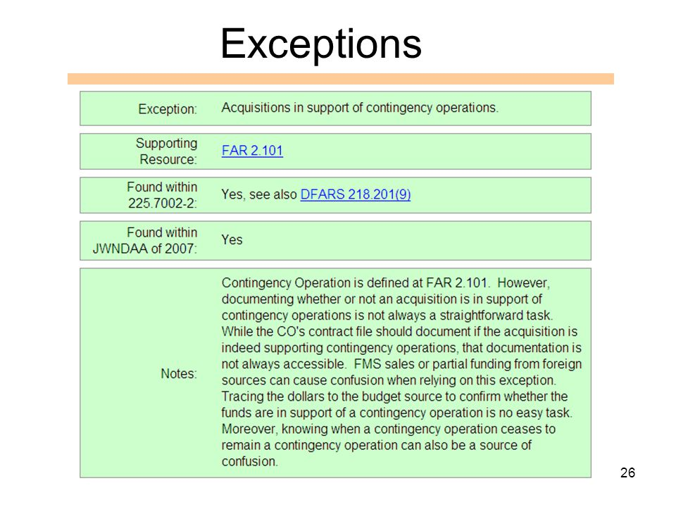 26 Exceptions