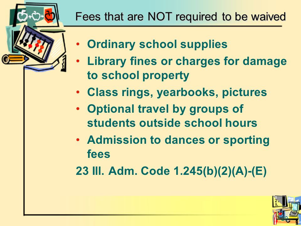 20 Fees that are NOT required to be waived Ordinary school supplies Library fines or charges for damage to school property Class rings, yearbooks, pictures Optional travel by groups of students outside school hours Admission to dances or sporting fees 23 Ill.