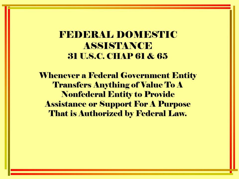 FEDERAL DOMESTIC ASSISTANCE 31 U.S.C.