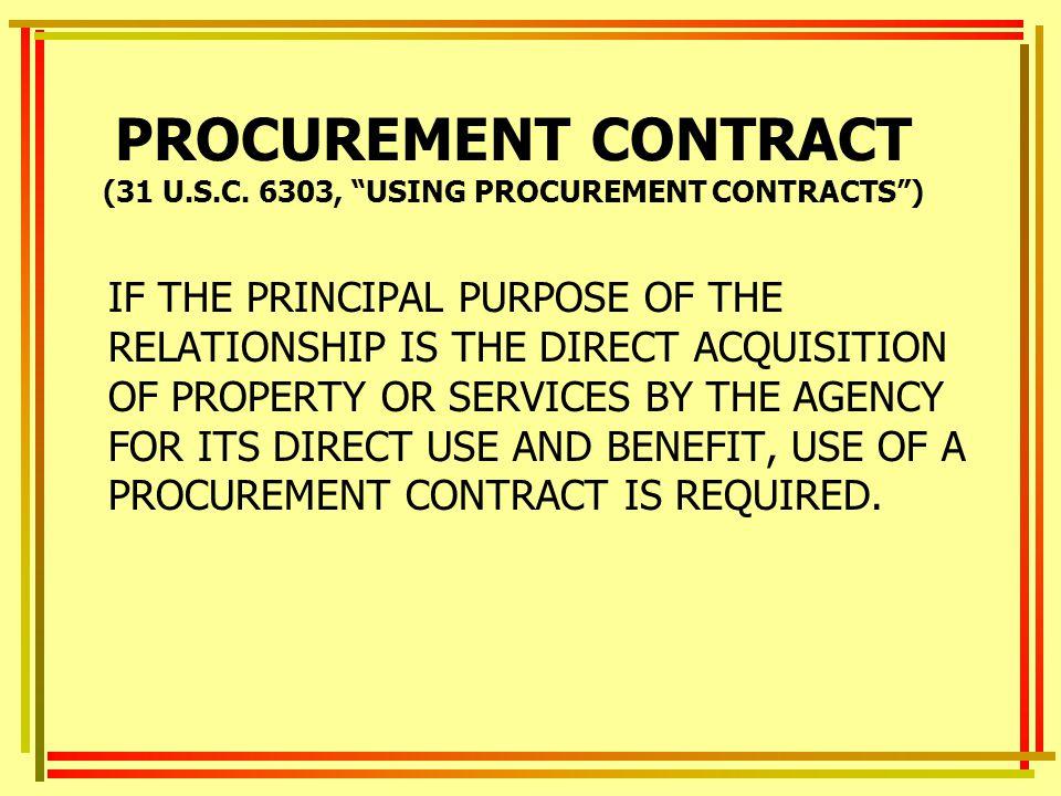 PROCUREMENT CONTRACT (31 U.S.C.