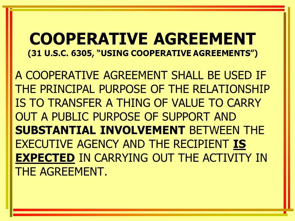 COOPERATIVE AGREEMENT (31 U.S.C.