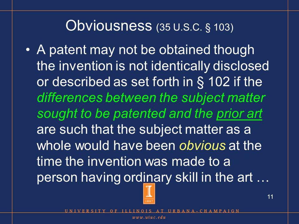 11 Obviousness (35 U.S.C.