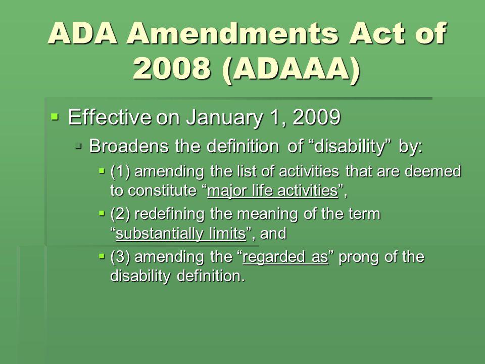 ADA GENERALLY (42 U.S.C.