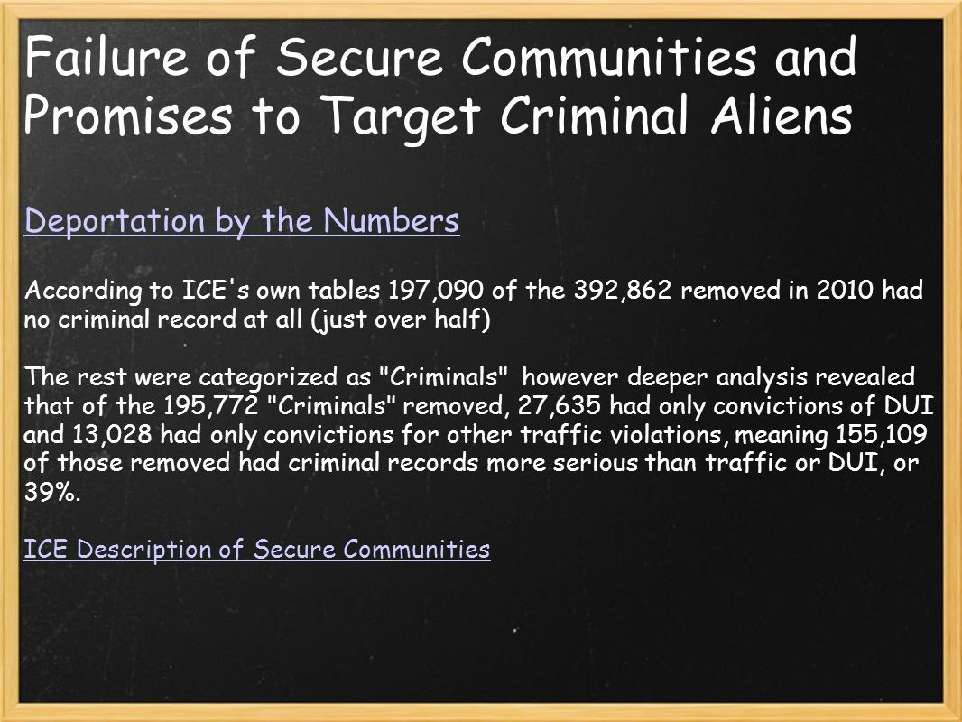 Failure of Secure Communities and Promises to Target Criminal Aliens Deportation by the Numbers According to ICE s own tables 197,090 of the 392,862 removed in 2010 had no criminal record at all (just over half) The rest were categorized as Criminals however deeper analysis revealed that of the 195,772 Criminals removed, 27,635 had only convictions of DUI and 13,028 had only convictions for other traffic violations, meaning 155,109 of those removed had criminal records more serious than traffic or DUI, or 39%.