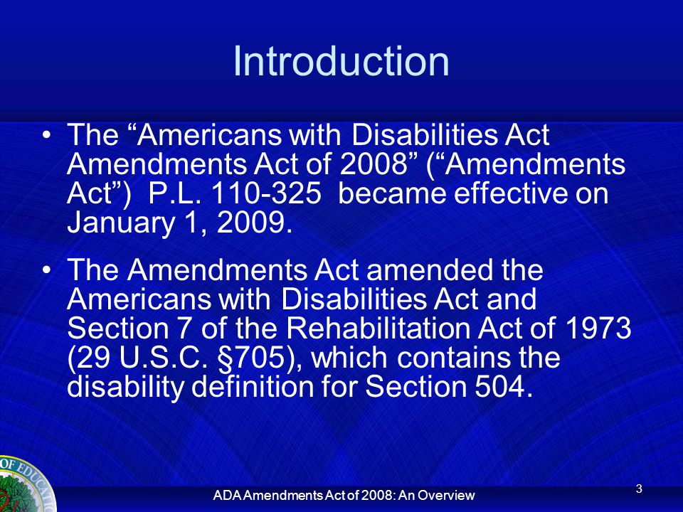 ADA Amendments Act of 2008: An Overview Major Life Activities The Amendments Act contains a non- exhaustive list of major life activities divided into two categories – general and major bodily functions. 42 U.S.C.