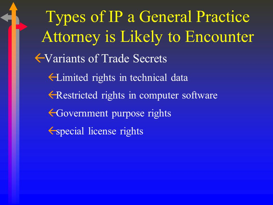 Types of IP a General Practice Attorney is Likely to Encounter ßVariants of Trade Secrets ßLimited rights in technical data ßRestricted rights in computer software ßGovernment purpose rights ßspecial license rights