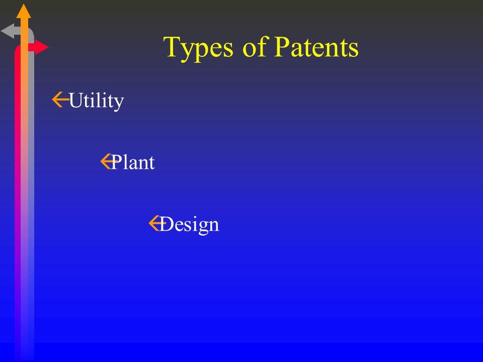 Types of Patents ßUtility ßPlant ßDesign