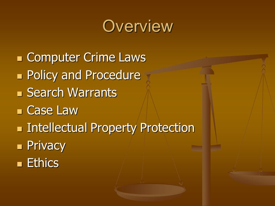 Overview Computer Crime Laws Computer Crime Laws Policy and Procedure Policy and Procedure Search Warrants Search Warrants Case Law Case Law Intellectual Property Protection Intellectual Property Protection Privacy Privacy Ethics Ethics