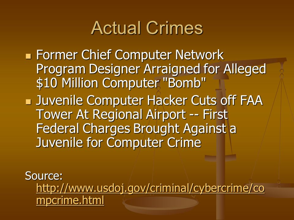 Actual Crimes Former Chief Computer Network Program Designer Arraigned for Alleged $10 Million Computer