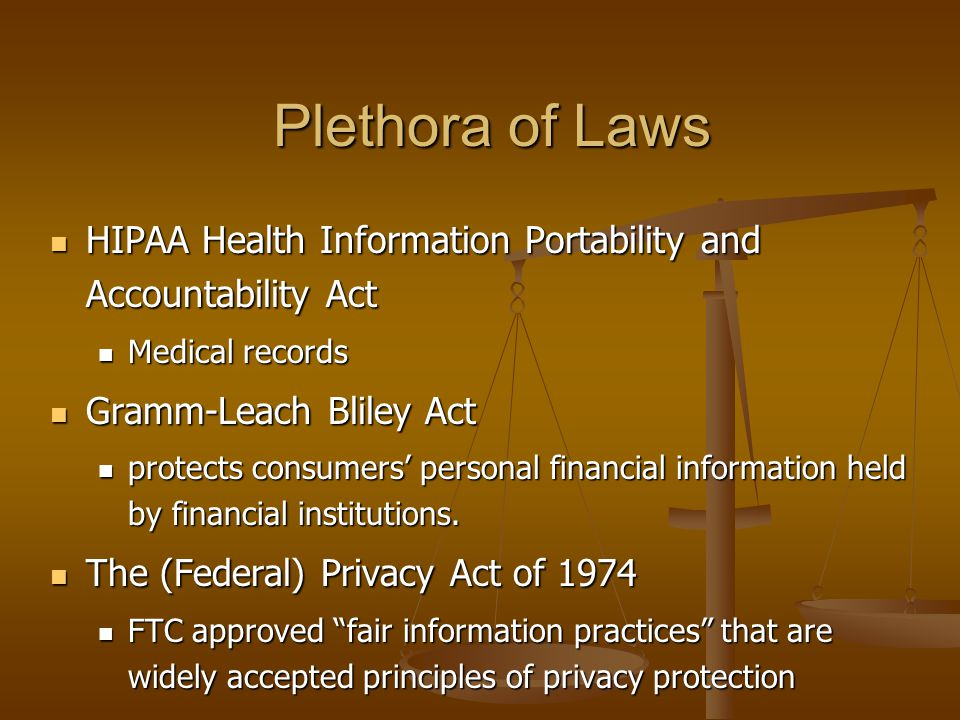 Plethora of Laws HIPAA Health Information Portability and Accountability Act HIPAA Health Information Portability and Accountability Act Medical recor