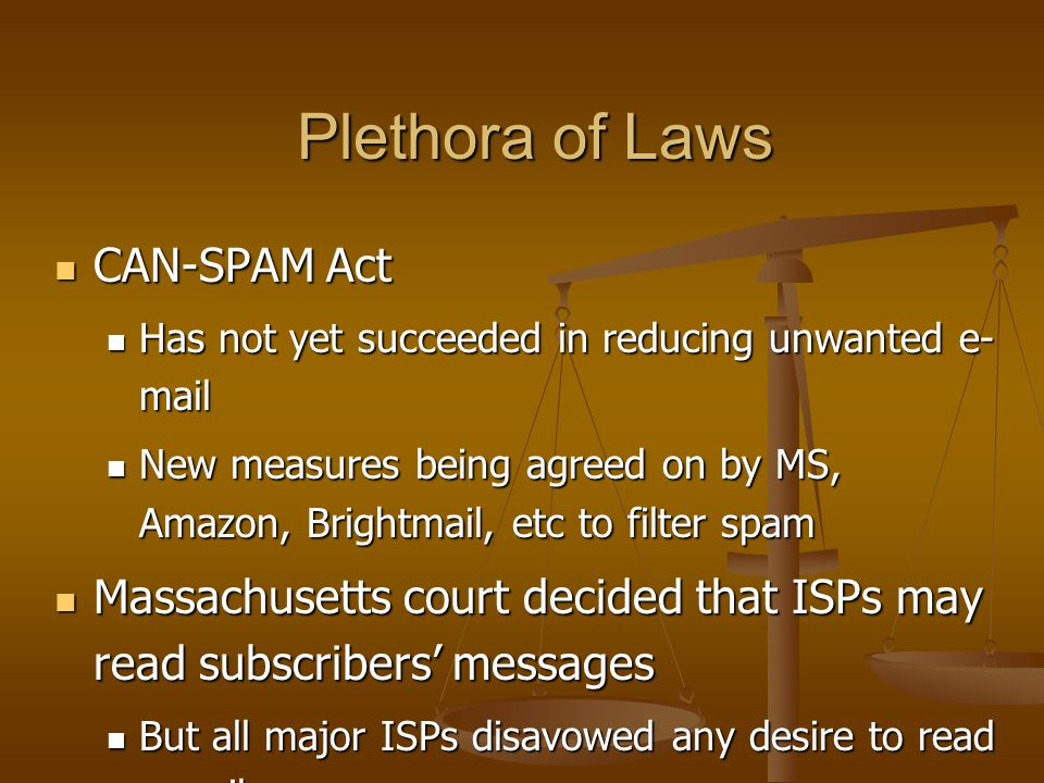 Plethora of Laws CAN-SPAM Act CAN-SPAM Act Has not yet succeeded in reducing unwanted e- mail Has not yet succeeded in reducing unwanted e- mail New m