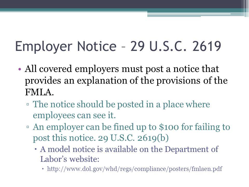 Employer Notice – 29 U.S.C.