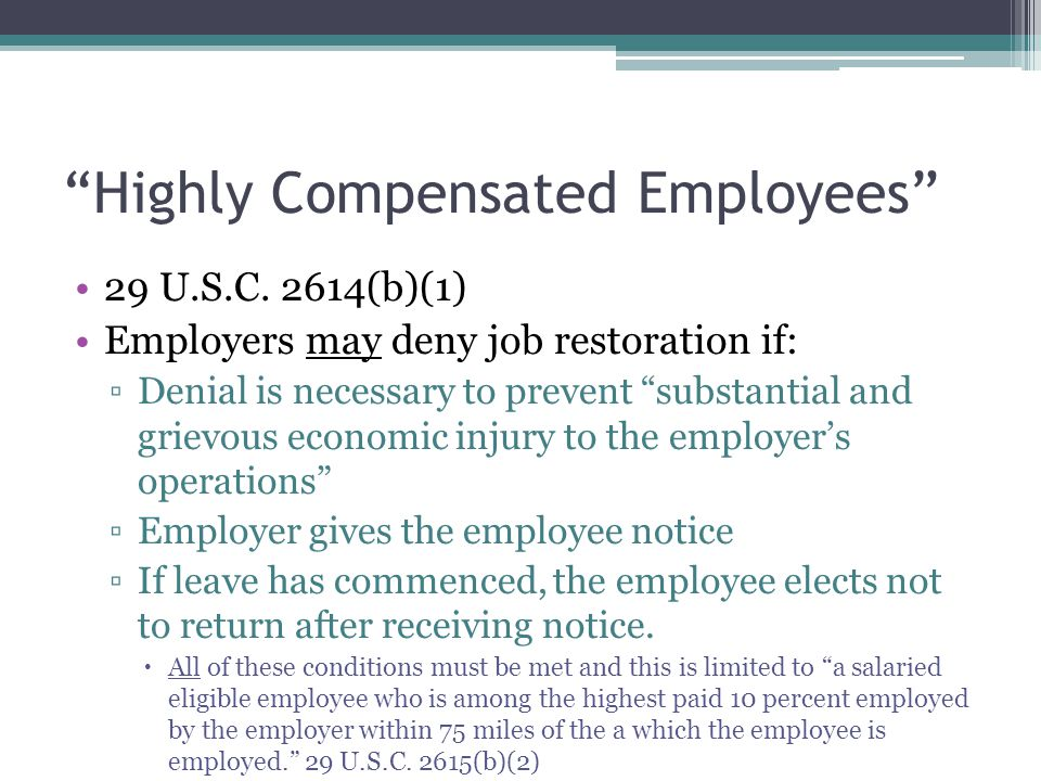 Highly Compensated Employees 29 U.S.C.