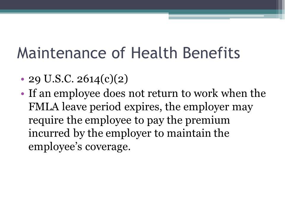 Maintenance of Health Benefits 29 U.S.C.