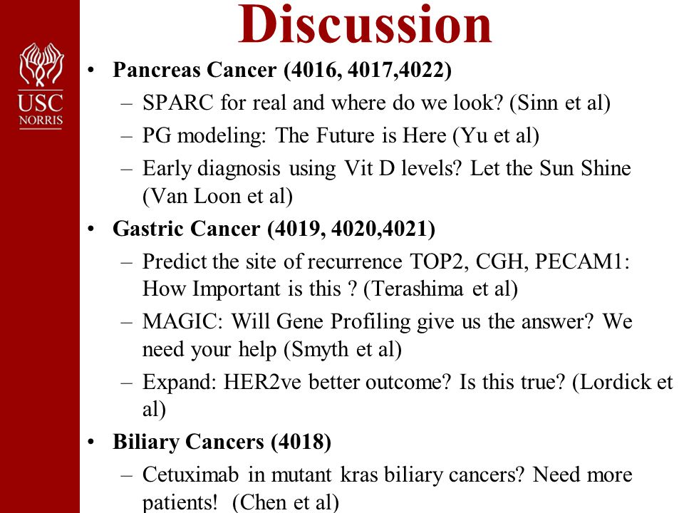 Discussion Pancreas Cancer (4016, 4017,4022) –SPARC for real and where do we look.