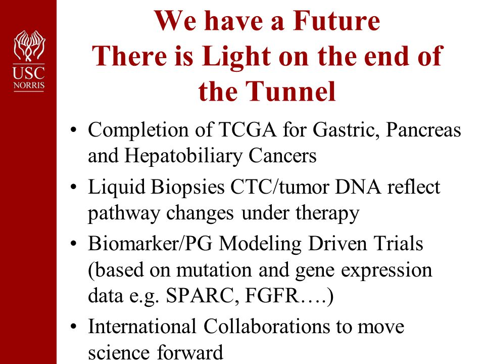 We have a Future There is Light on the end of the Tunnel Completion of TCGA for Gastric, Pancreas and Hepatobiliary Cancers Liquid Biopsies CTC/tumor DNA reflect pathway changes under therapy Biomarker/PG Modeling Driven Trials (based on mutation and gene expression data e.g.