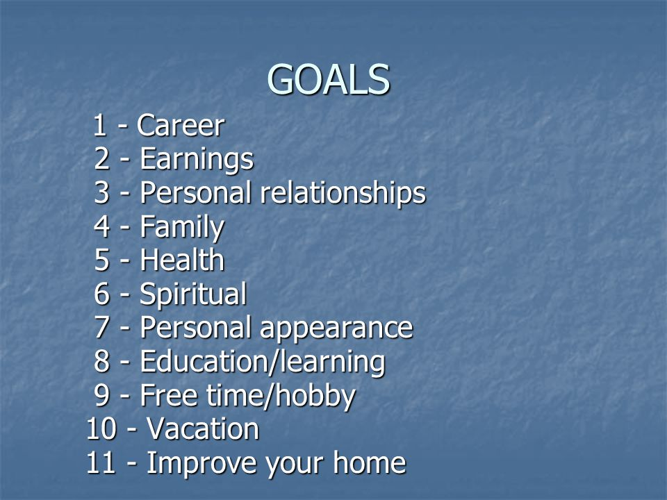 GOALS 1 - Career 1 - Career 2 - Earnings 2 - Earnings 3 - Personal relationships 3 - Personal relationships 4 - Family 4 - Family 5 - Health 5 - Health 6 - Spiritual 6 - Spiritual 7 - Personal appearance 7 - Personal appearance 8 - Education/learning 8 - Education/learning 9 - Free time/hobby 9 - Free time/hobby 10 - Vacation 11 - Improve your home