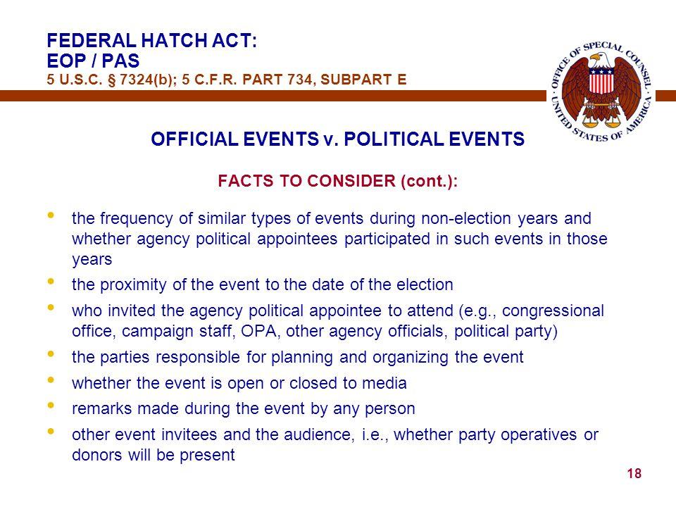 18 OFFICIAL EVENTS v.