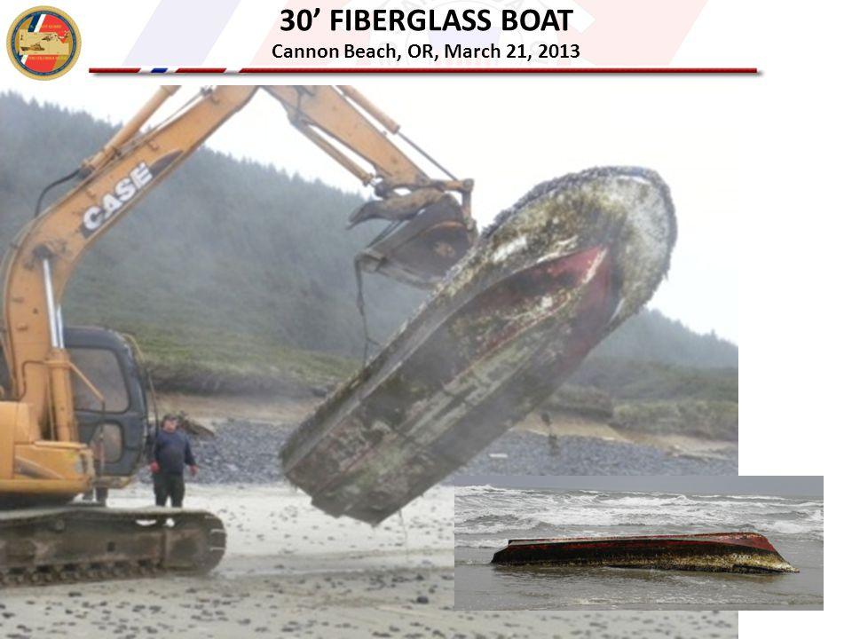 30' FIBERGLASS BOAT Cannon Beach, OR, March 21, 2013