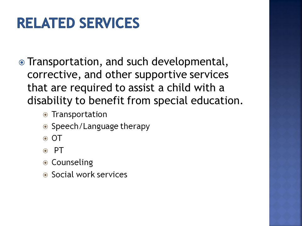  Transportation, and such developmental, corrective, and other supportive services that are required to assist a child with a disability to benefit from special education.