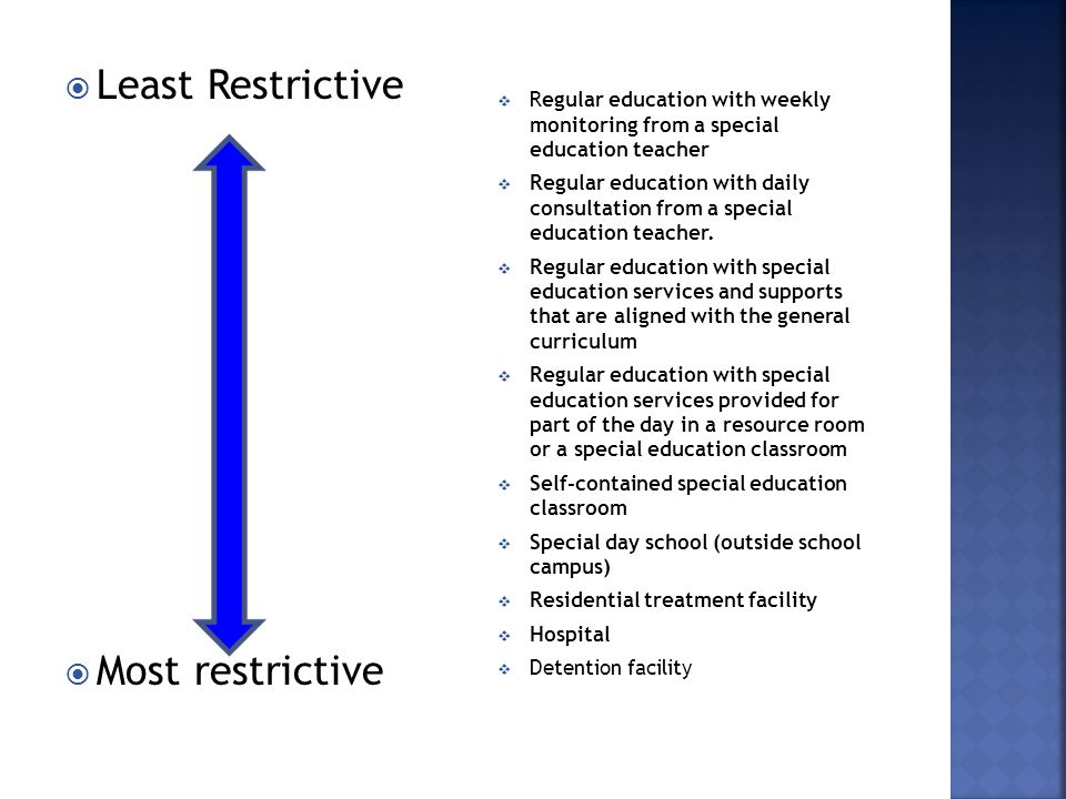  Least Restrictive  Most restrictive  Regular education with weekly monitoring from a special education teacher  Regular education with daily consultation from a special education teacher.