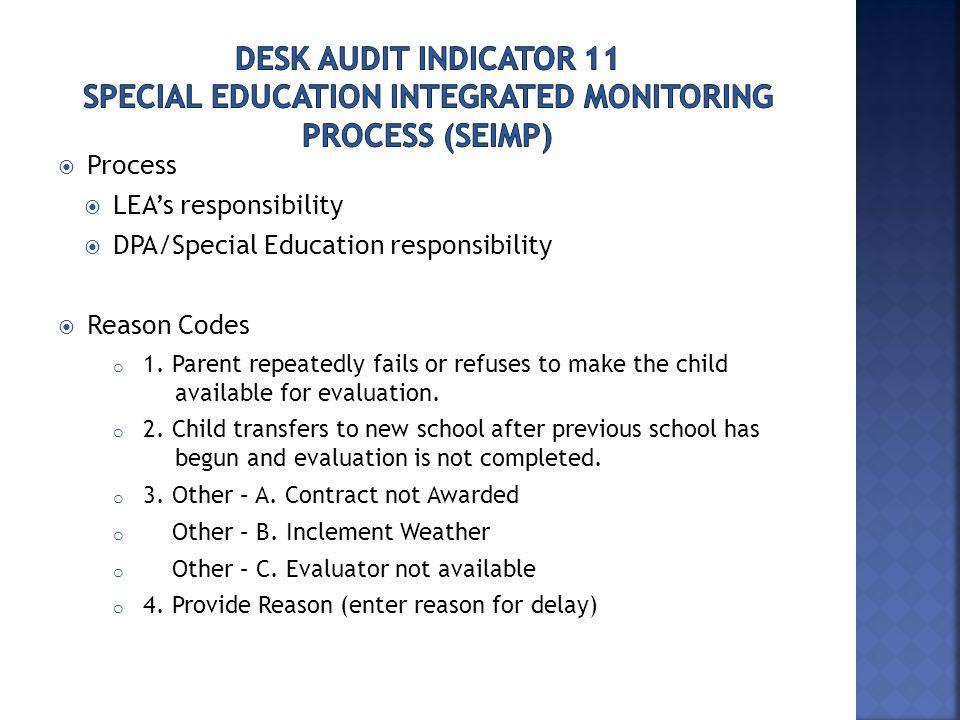  Process  LEA's responsibility  DPA/Special Education responsibility  Reason Codes o 1.