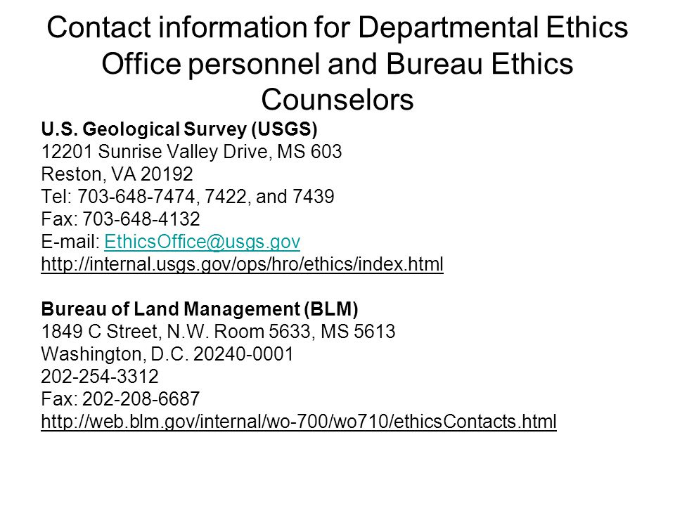Contact information for Departmental Ethics Office personnel and Bureau Ethics Counselors U.S.