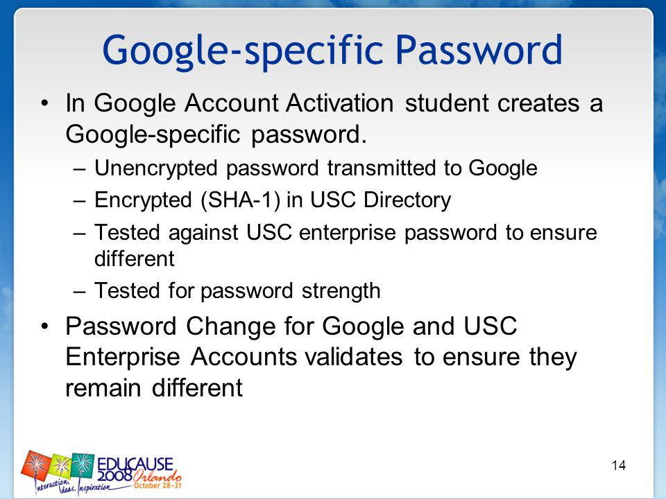 14 Google-specific Password In Google Account Activation student creates a Google-specific password. –Unencrypted password transmitted to Google –Encr