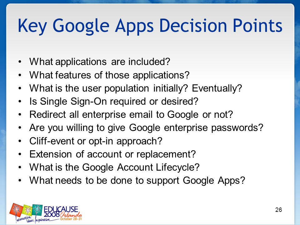 26 Key Google Apps Decision Points What applications are included.