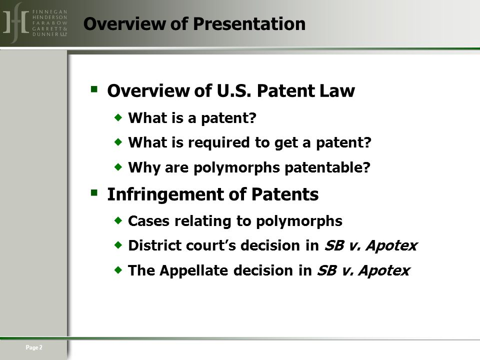 Page 2  Overview of U.S. Patent Law  What is a patent.