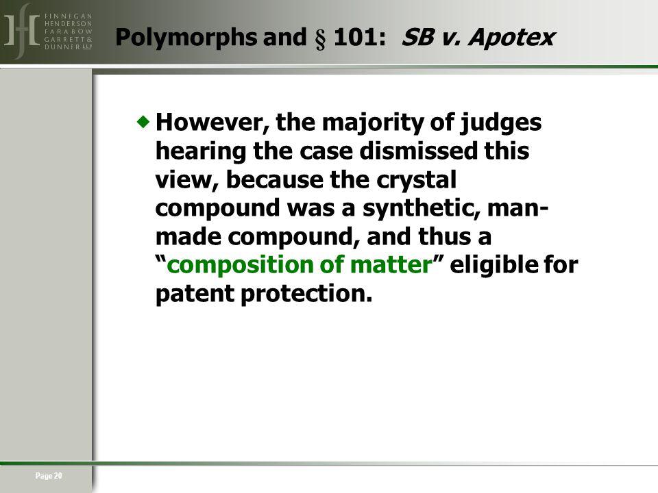 Page 20 Polymorphs and § 101: SB v.