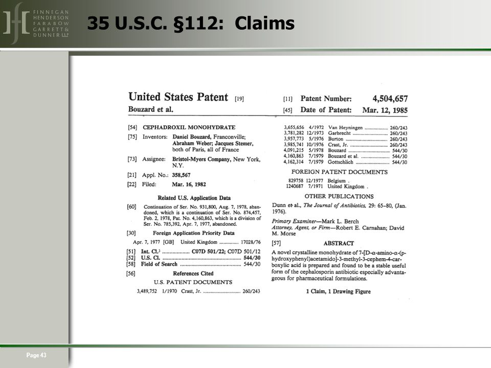 Page 43 35 U.S.C. §112: Claims