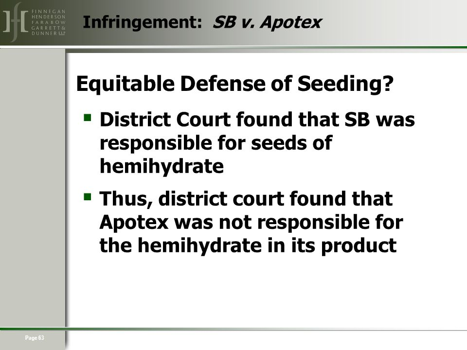 Page 63 Equitable Defense of Seeding.