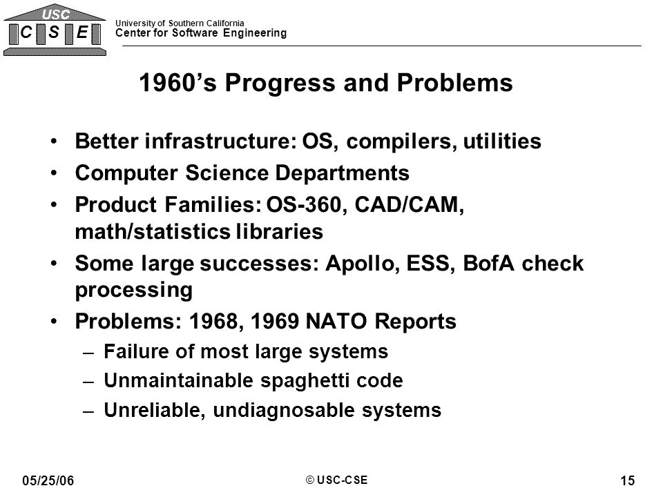 University of Southern California Center for Software Engineering C S E USC 05/25/06 © USC-CSE 15 1960's Progress and Problems Better infrastructure: OS, compilers, utilities Computer Science Departments Product Families: OS-360, CAD/CAM, math/statistics libraries Some large successes: Apollo, ESS, BofA check processing Problems: 1968, 1969 NATO Reports –Failure of most large systems –Unmaintainable spaghetti code –Unreliable, undiagnosable systems