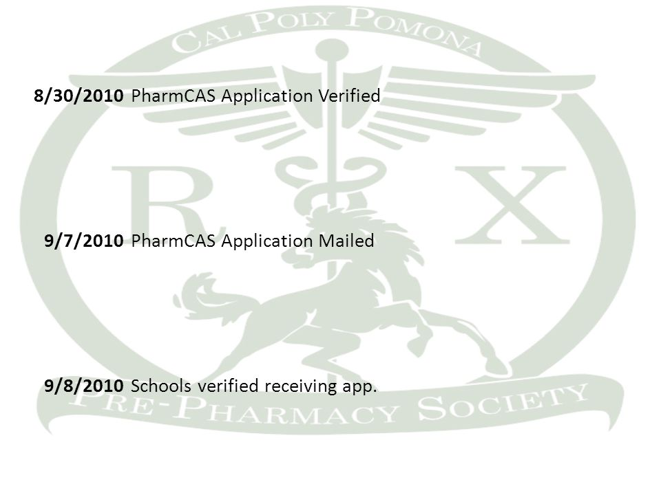 8/30/2010PharmCAS Application Verified 9/7/2010PharmCAS Application Mailed 9/8/2010Schools verified receiving app.