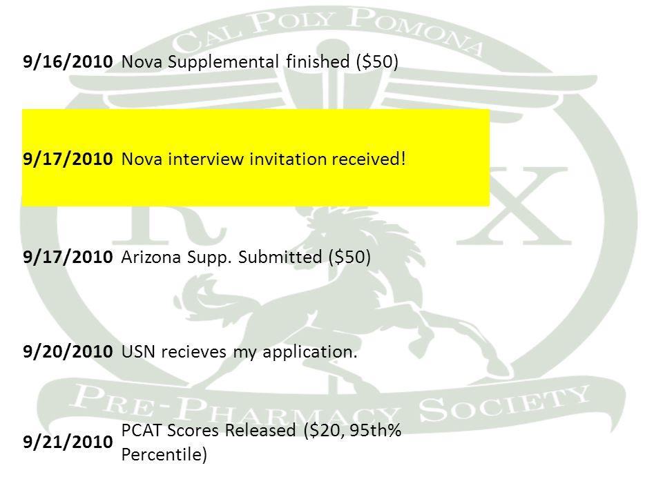 9/16/2010Nova Supplemental finished ($50) 9/17/2010Nova interview invitation received.