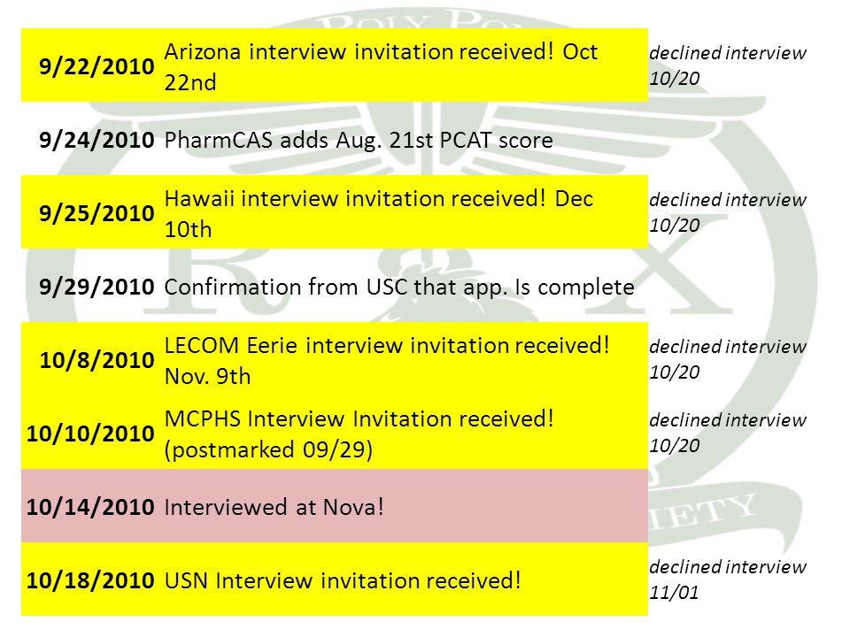 9/22/2010 Arizona interview invitation received.