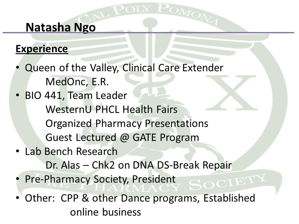 Natasha Ngo Experience Queen of the Valley, Clinical Care Extender MedOnc, E.R.
