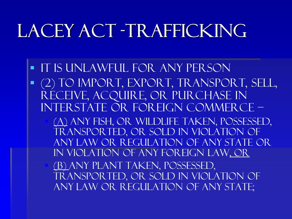 Lacey act -trafficking   It is unlawful for any person   (2) to import, export, transport, sell, receive, acquire, or purchase in interstate or foreign commerce –   (A) any fish, or wildlife taken, possessed, transported, or sold in violation of any law or regulation of any State or in violation of any foreign law, or   (B) any plant taken, possessed, transported, or sold in violation of any law or regulation of any State;