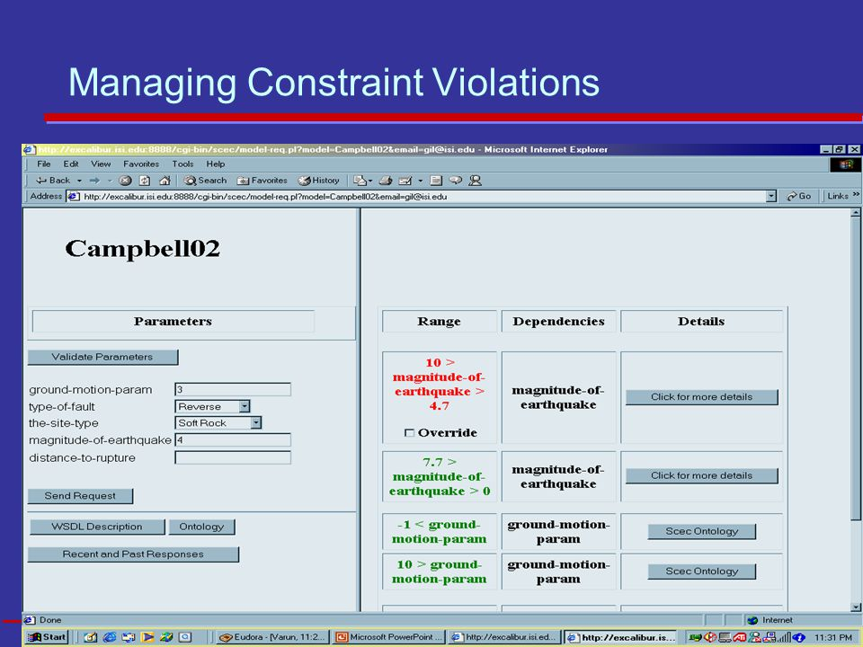 13 USC INFORMATION SCIENCES INSTITUTE Managing Constraint Violations
